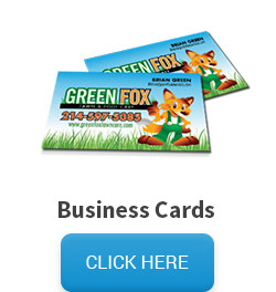 Sample of one of our printing products a business card, and a click here button that links to the business card pricing and information page.