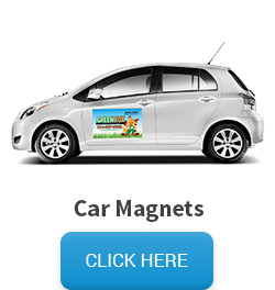 Sample of car magnets, followed by a click here button that links to the car magnet pricing and information page.