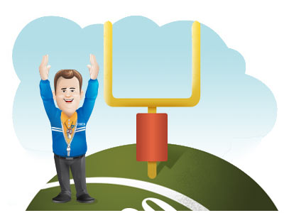 Great targeted postcard mailing prices -Coach arms up in goal pose