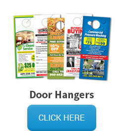 Sample of door hangers, followed by a click here button that links to the door hangers pricing and information page.