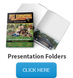 Sample of presentation folder, followed by a click here button that links to the folder pricing and information page.