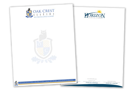 Sample of custom letterhead designed and printed.