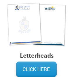 Sample of a letterhead, followed by a click here button that links to the letterhead pricing and information page.