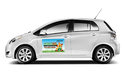 Sample of a custom car magnet designed and printed.