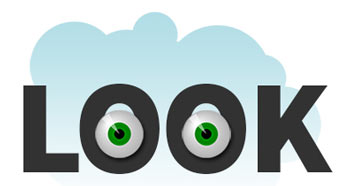 image of the word look with 2 eye balls in the letter o's to illustrate the first step of how to design a postcard