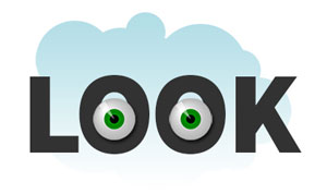 """""""image of the word look with 2 eye balls in the letter o's to illustrate the first step of how to design a postcard"""""""