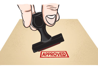 image of rubber stamp with the word approved showing final payment is due with approval of design and neighborhood targeting
