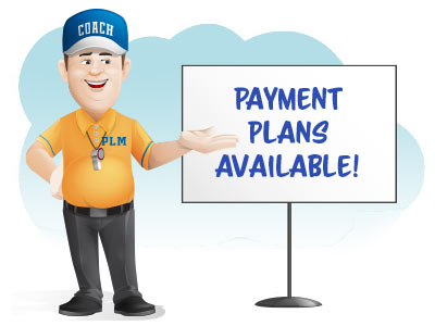 Coach cartoon pointing to sign that says payment plans available