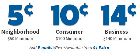 mailing list prices neigborhood 5 cents, consumer 10 cents, business 14 cents