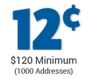 cost per address is 12 cents - minimum order $120