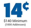 cost per address is 14 cents - minimum order $140