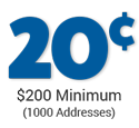 cost per address is 20 cents - minimum order $200