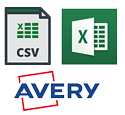 Excel, CSV or AVery Label Formats Available
