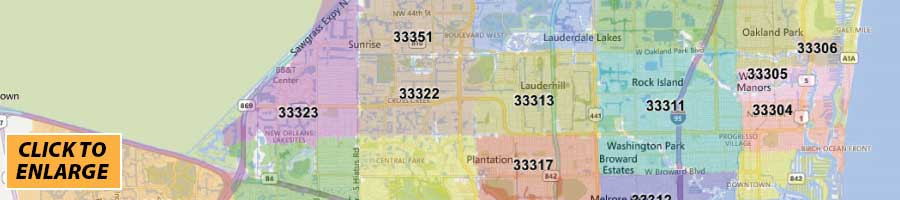 Broward County Zip Code Map - Print Label and Mail