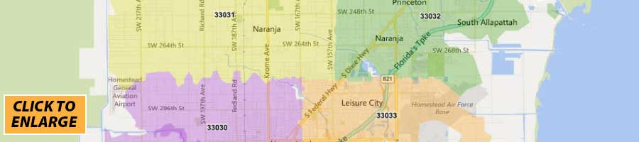 miami-dade county zip code map - print label and mail